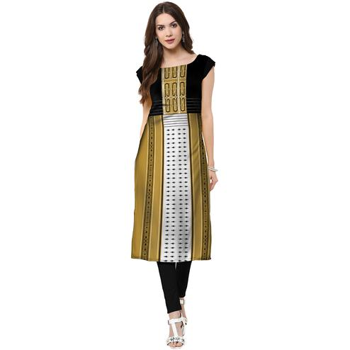 Charming Green Colored Casual Printed Crepe Kurti