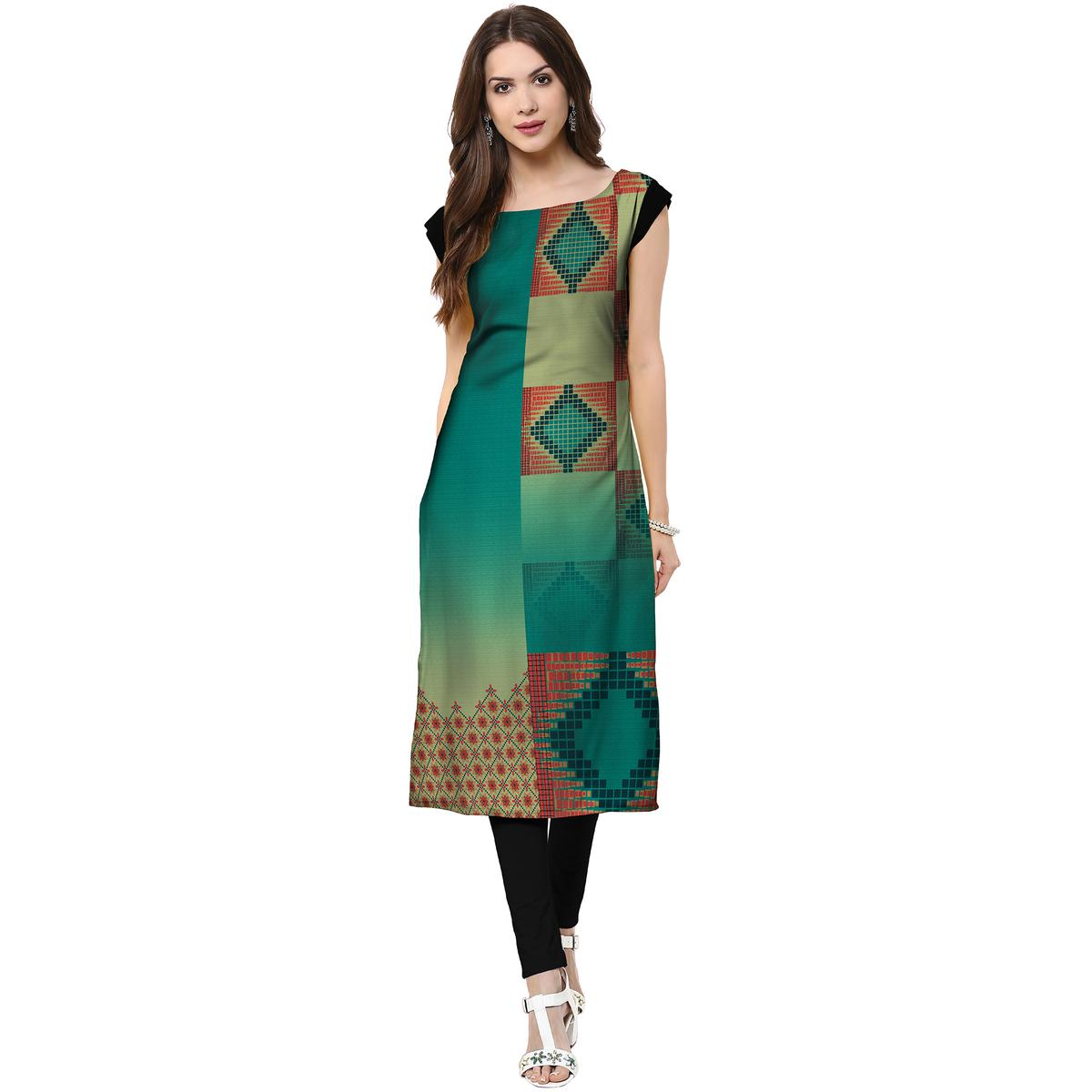 Jazzy Turquoise Green Colored Casual Printed Crepe Kurti