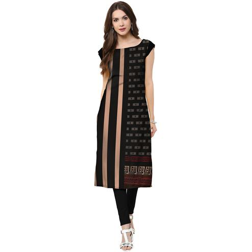 Delightful Black Colored Casual Printed Crepe Kurti