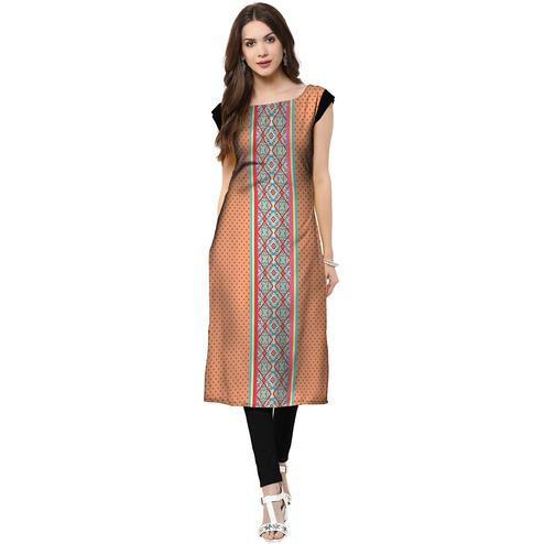 Engrossing Peach Colored Casual Printed Crepe Kurti