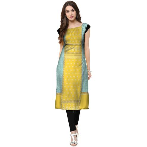 Captivating Lemon Yellow Colored Casual Printed Crepe Kurti