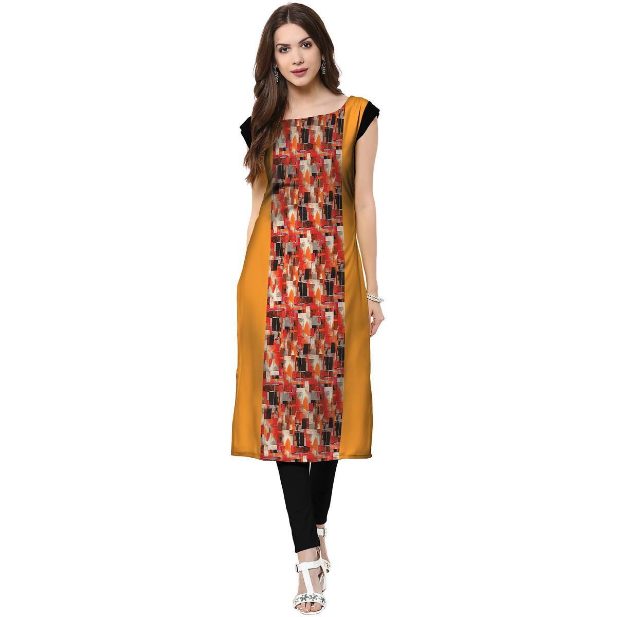 Eye-catching Mustard Yellow Colored Casual Printed Crepe Kurti
