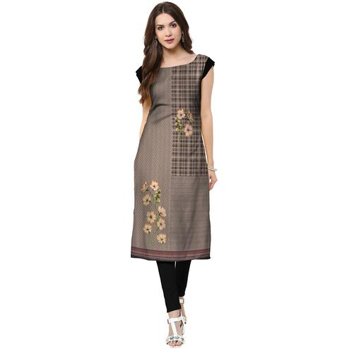 Fantastic Grey Colored Casual Printed Crepe Kurti