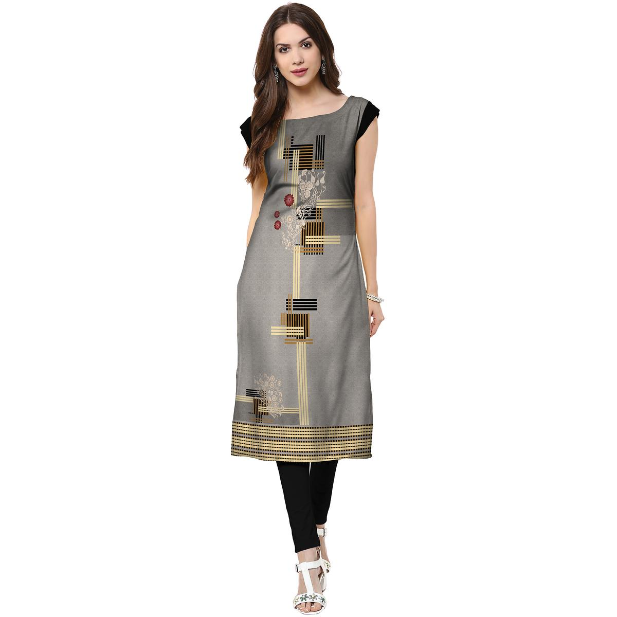 Amazing Grey Colored Casual Printed Crepe Kurti