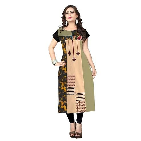 Blissful Multi Colored Casual Printed Crepe Kurti