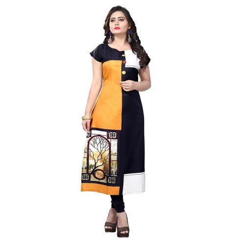 Ideal Black Yellow Colored Casual Printed Crepe Kurti