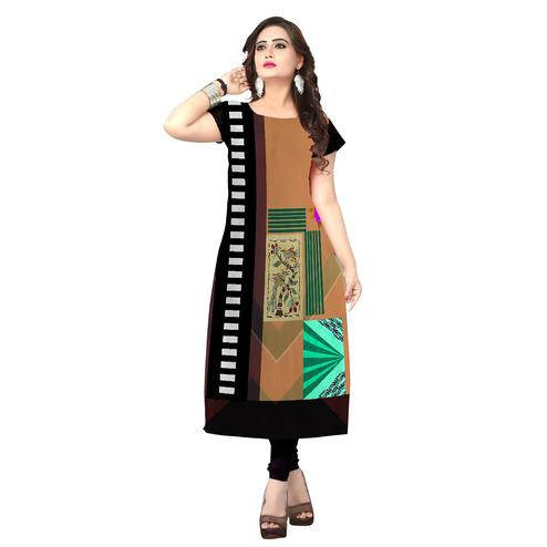Imposing Brown Colored Casual Printed Crepe Kurti