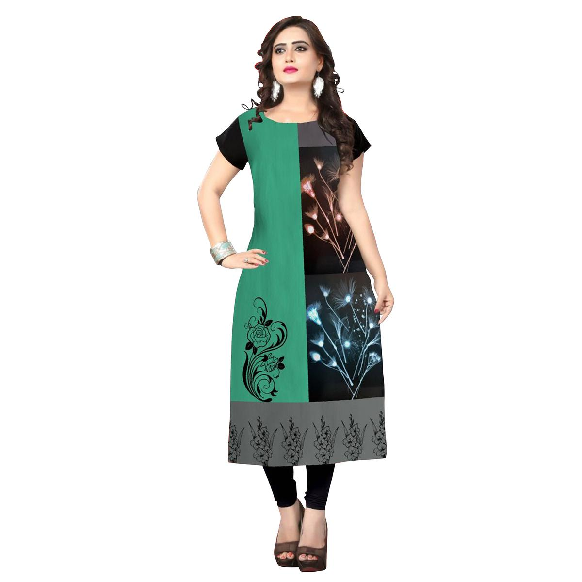 Lovely Black-Green Colored Casual Printed Crepe Kurti