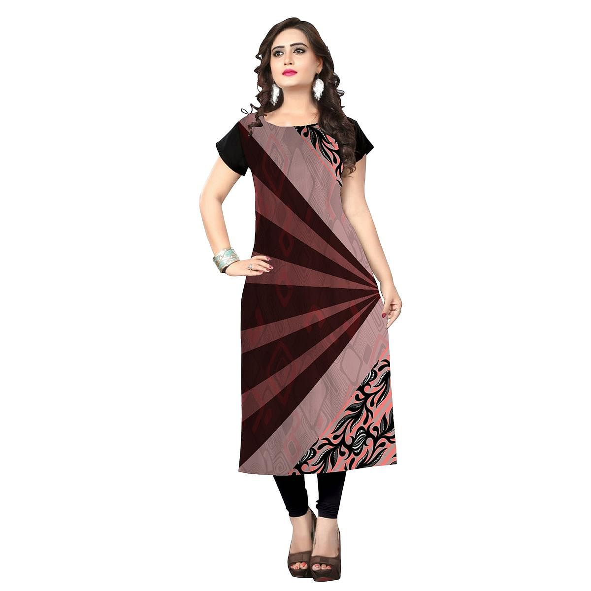 Majesty Brown-Multi Colored Casual Printed Crepe Kurti