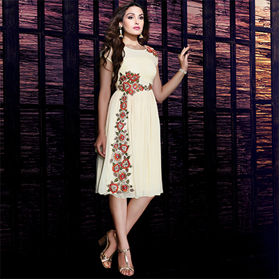 Cream Partywear Stitched Tunic