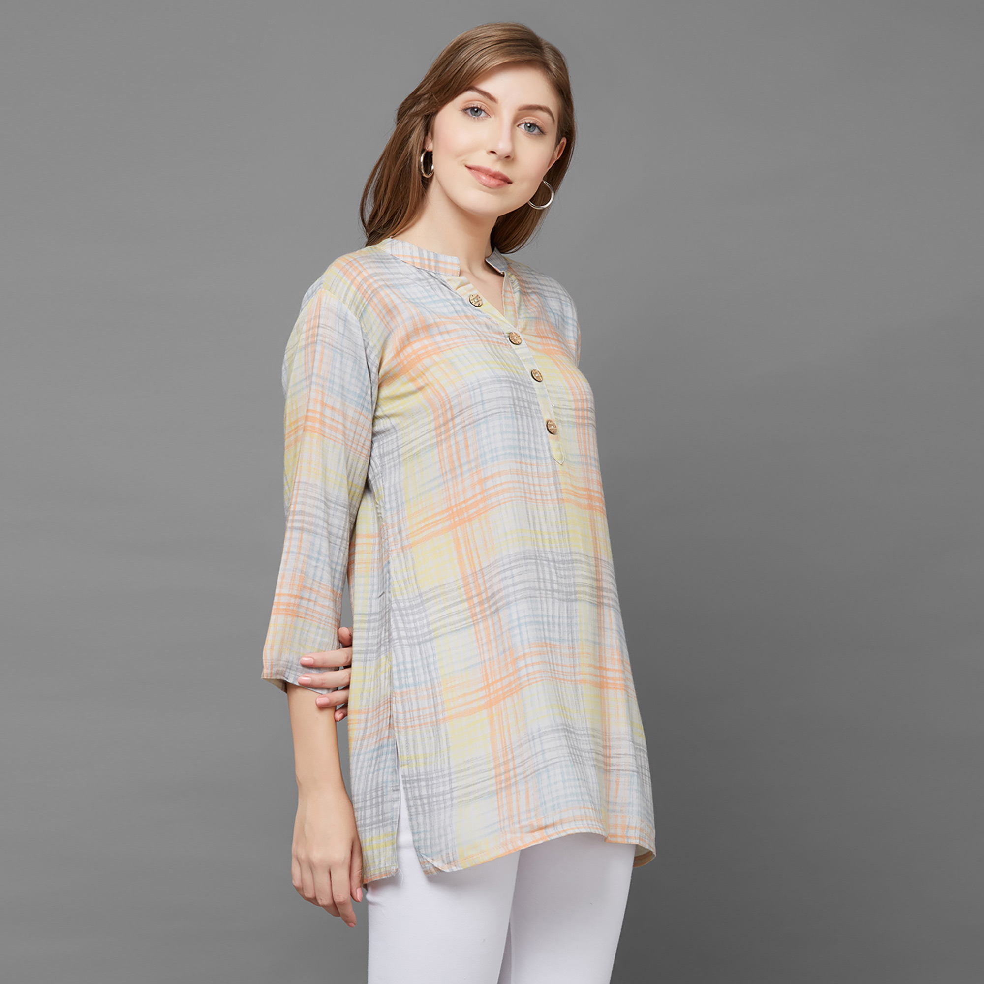 Amazing Orange Colored Casual Printed Cotton Top