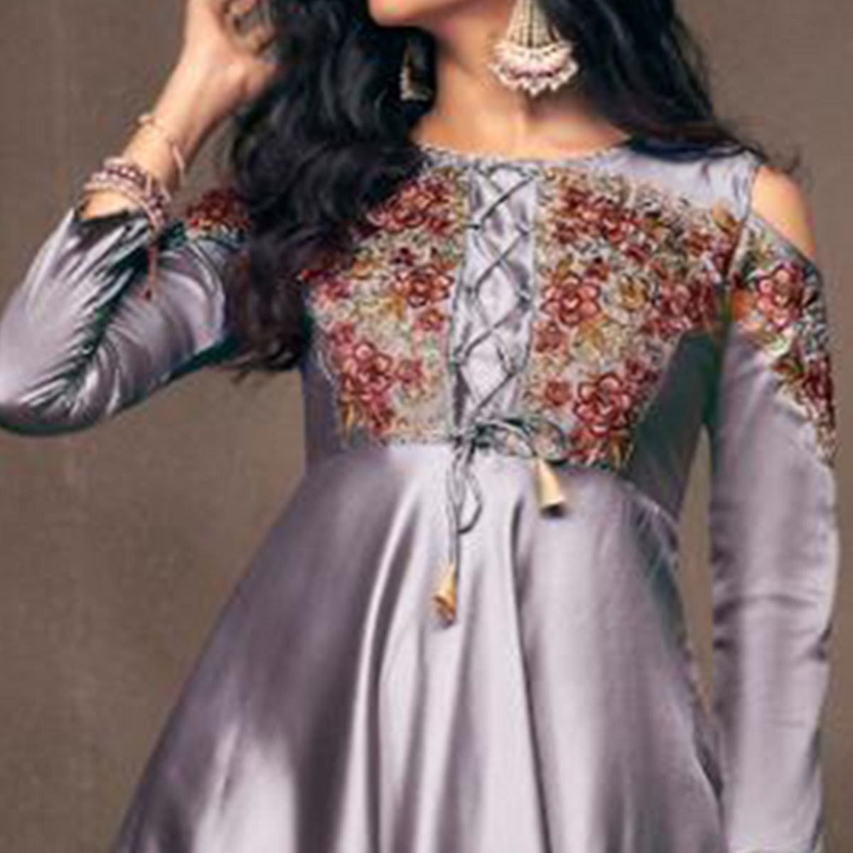Marvellous Gray Colored Partywear Embroidered Tapeta Silk Gown