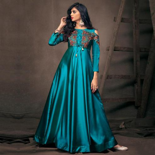 Flamboyant Rama Blue Colored Partywear Embroidered Tapeta Silk Gown
