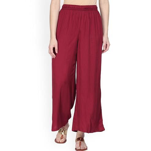Imposing Maroon Colored Casual Wear Rayon Palazzo