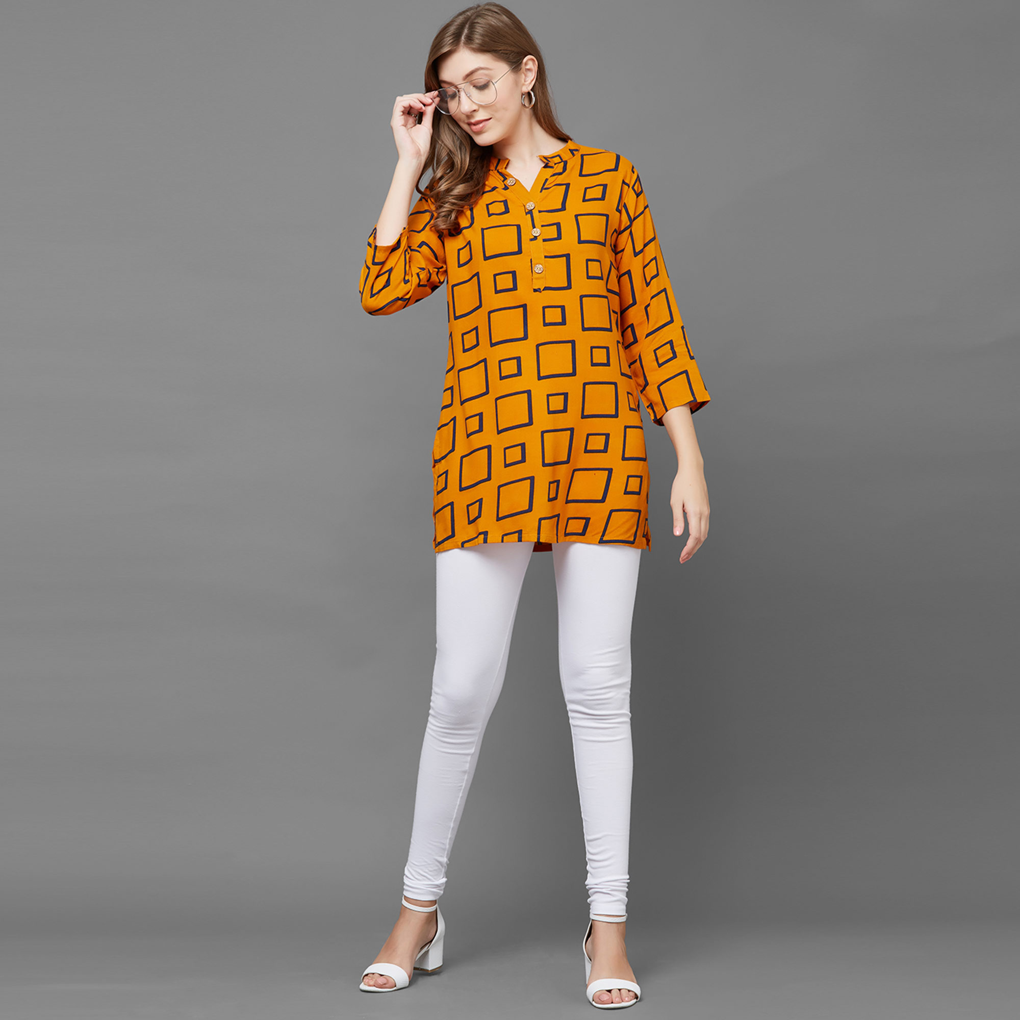 Exceptional Mustard Yellow Colored Casual Printed Rayon Top