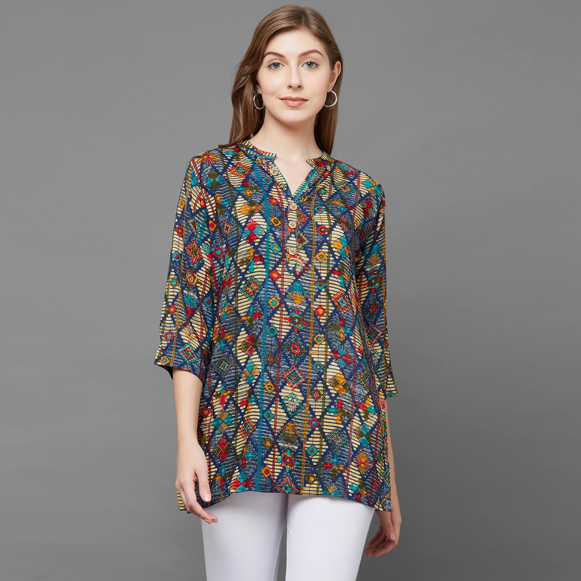Sizzling Blue Colored Casual Printed Rayon Top