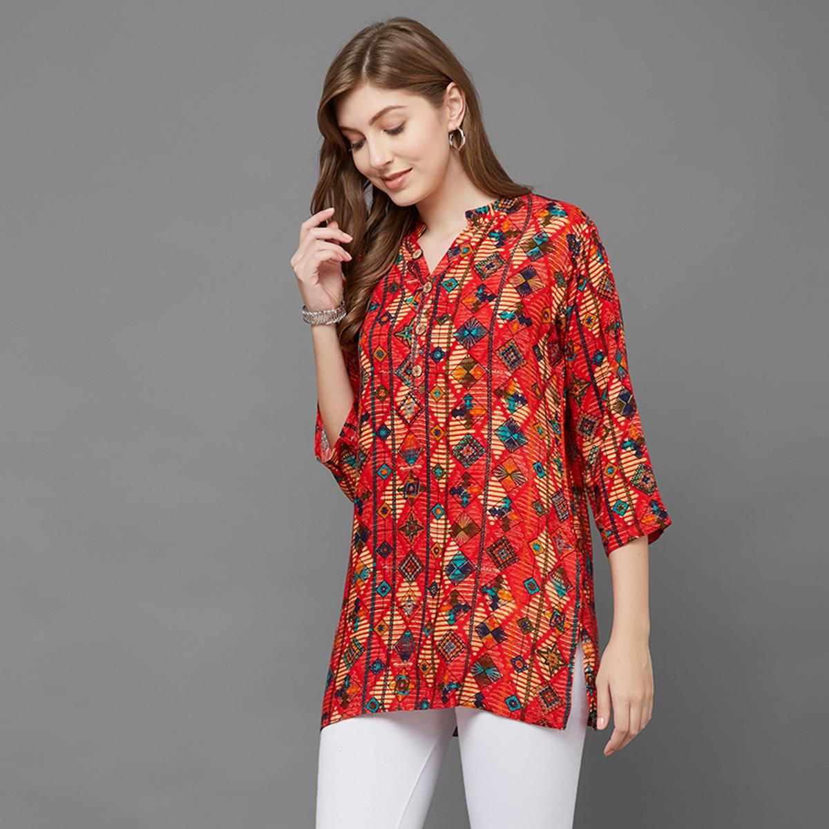 Fantasitc Red Colored Casual Printed Rayon Top
