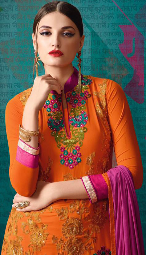 Orange Floral Embroidered Straight Suit