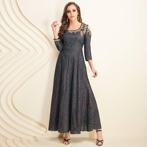 Majesty Gray Colored Partywear Printed Rayon Long Kurti