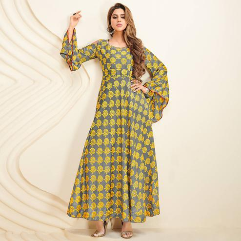 Impressive Light Gray Colored Partywear Printed Rayon Long Kurti