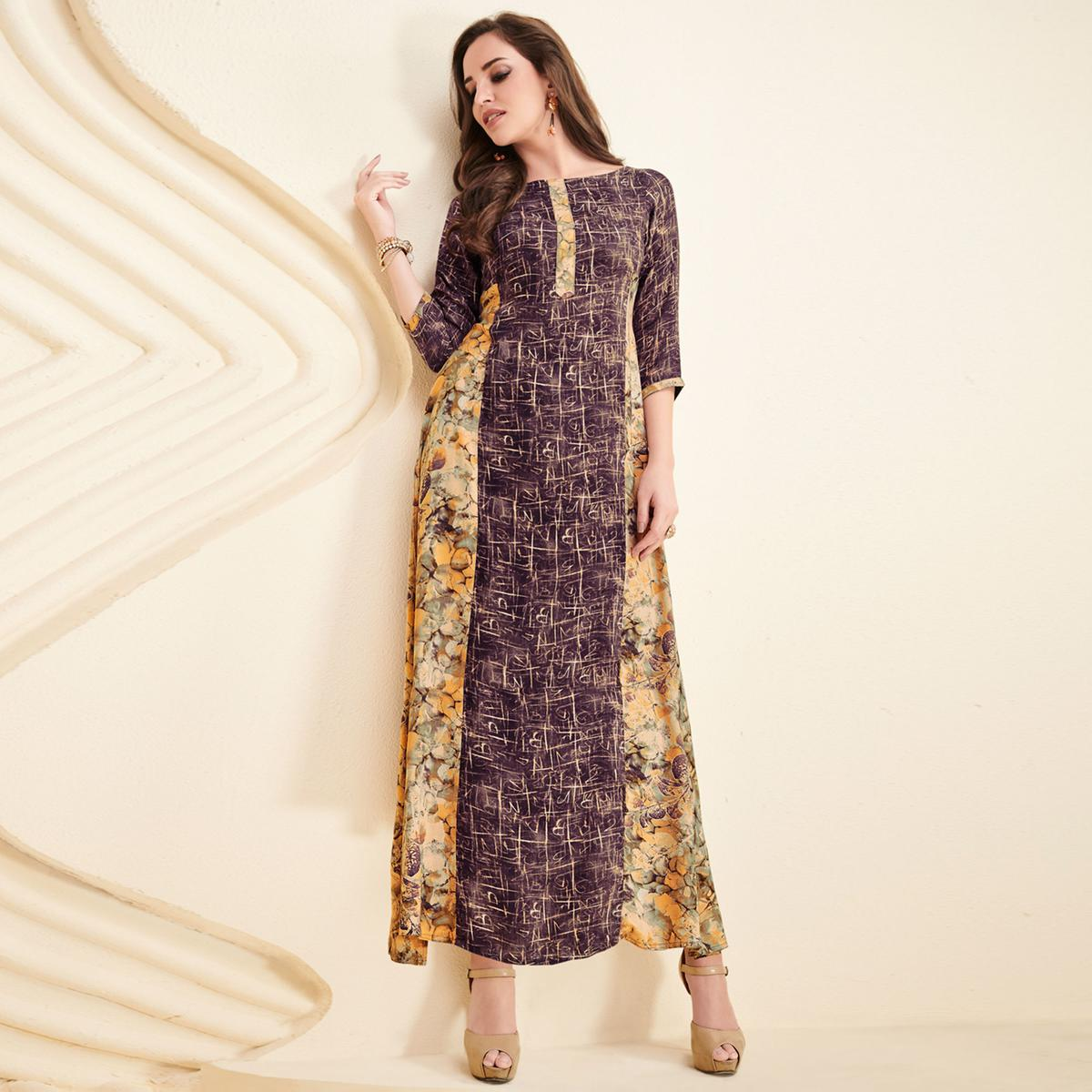 Mesmerising Purple-Yellow Colored Partywear Printed Rayon Long Kurti