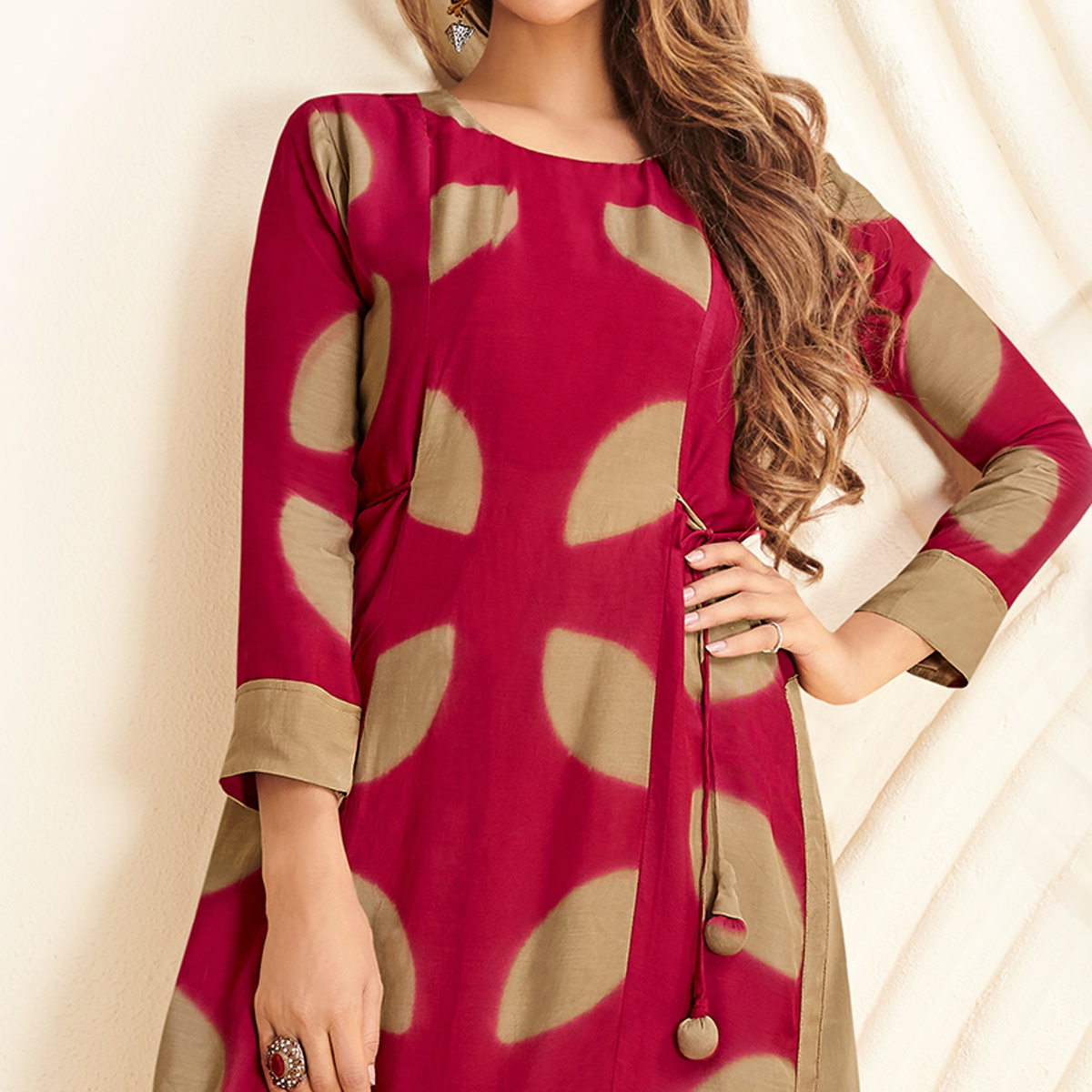 Pleasance Pink-Beige Colored Partywear Printed Rayon Long Kurti