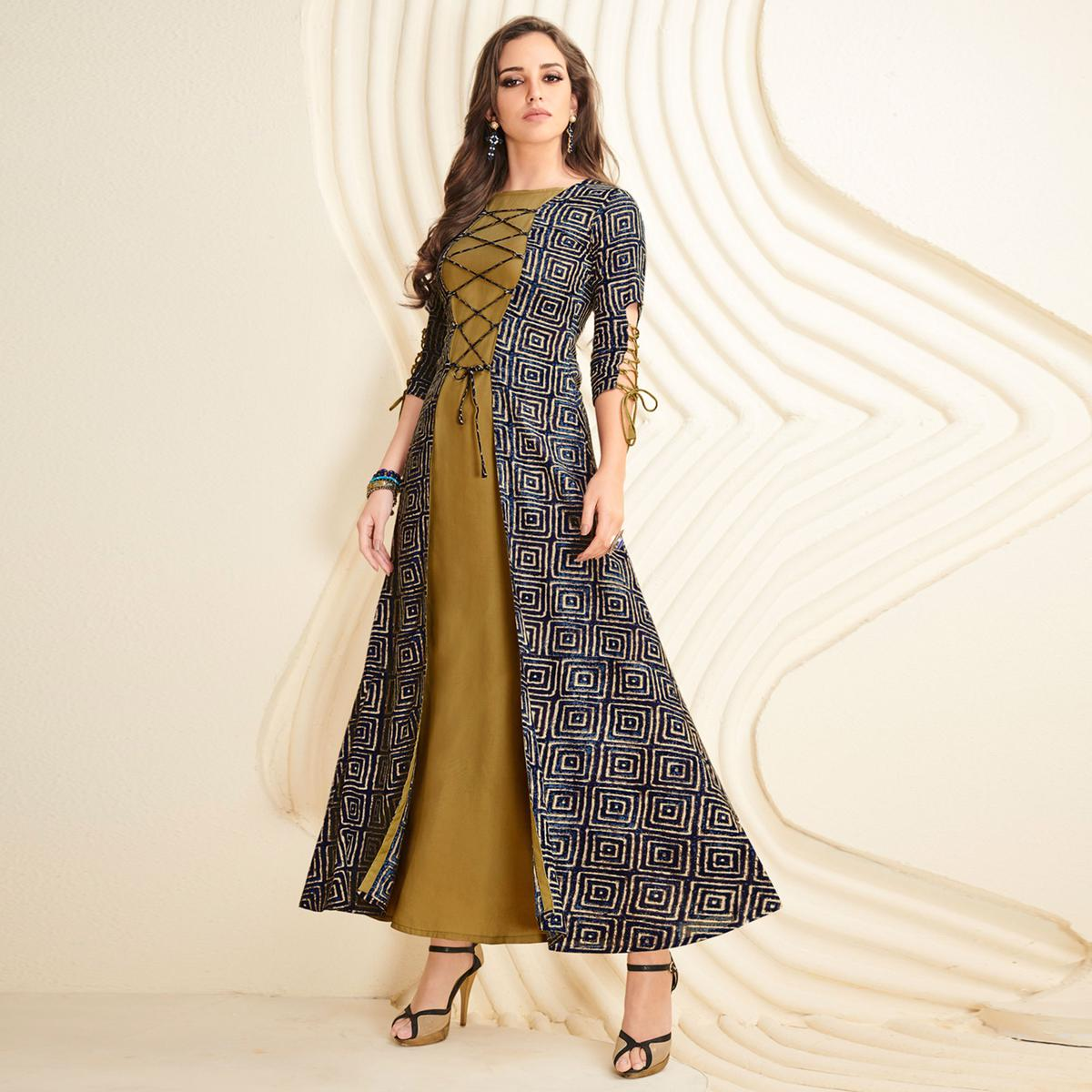 Breathtaking Olive Green-Navy Blue Colored Partywear Printed Rayon Long Kurti