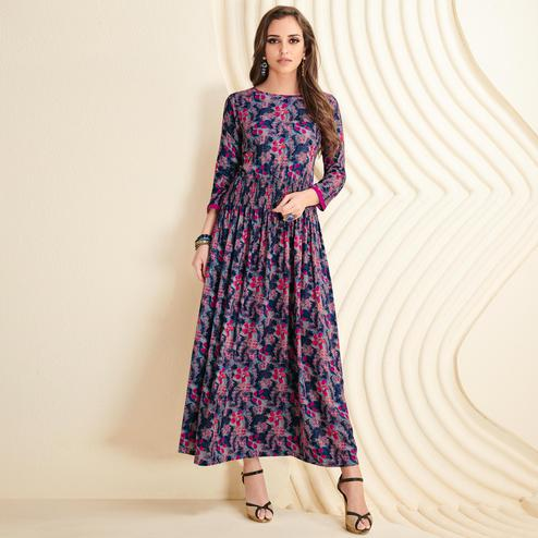 Ethnic Blue-Multi Colored Partywear Printed Rayon Long Kurti