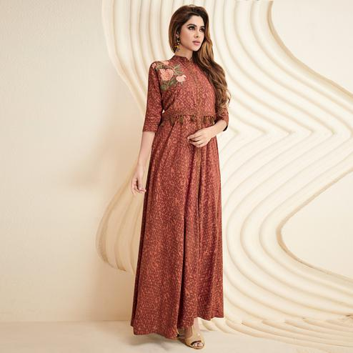 Staring Brown Colored Partywear Printed Rayon Long Kurti
