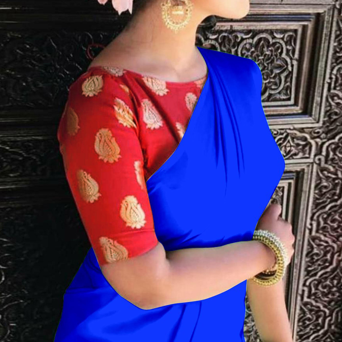Trendy Royal Blue Colored Casual Wear Japan Satin Saree