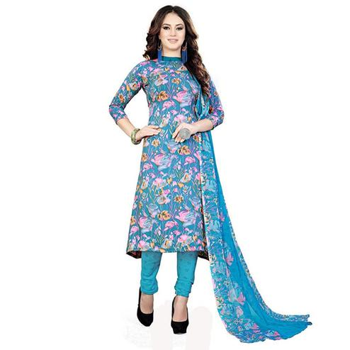 Beautiful Sky Blue Colored Casual Printed Crepe Dress Material