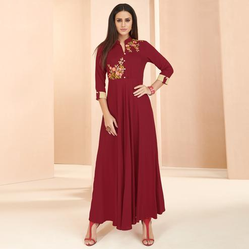 Mesmerising Red Colored Partywear Embroidered Heavy Rayon Long Kurti