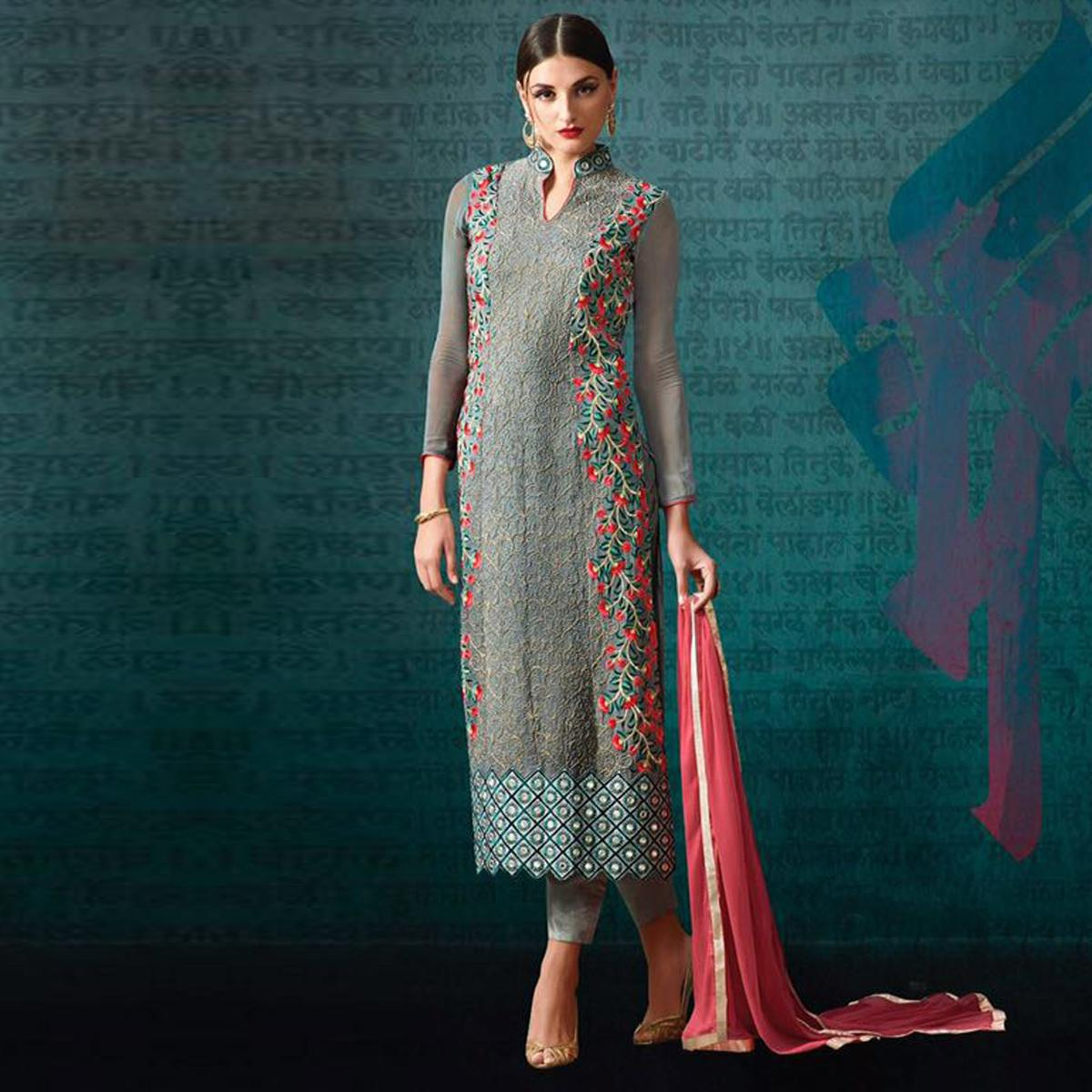 Grey Straight Cut Embroidered Suit