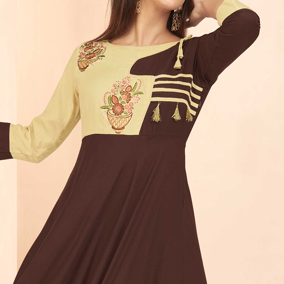 Breathtaking Brown Colored Partywear Embroidered Heavy Rayon Long Kurti