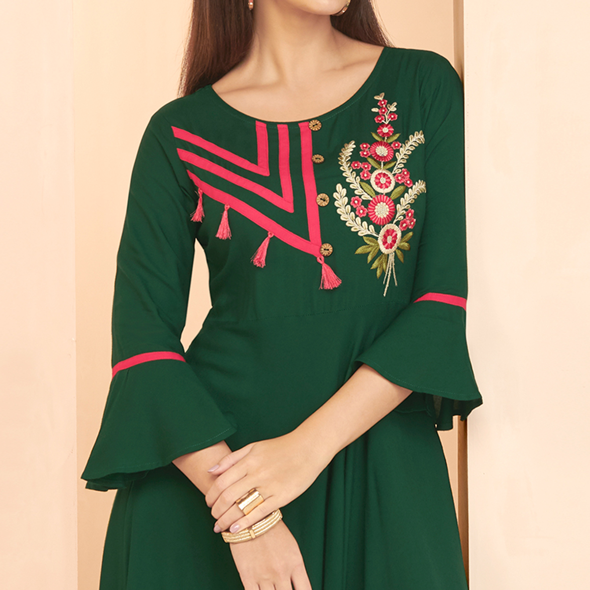 Staring Green Colored Partywear Embroidered Heavy Rayon Long Kurti