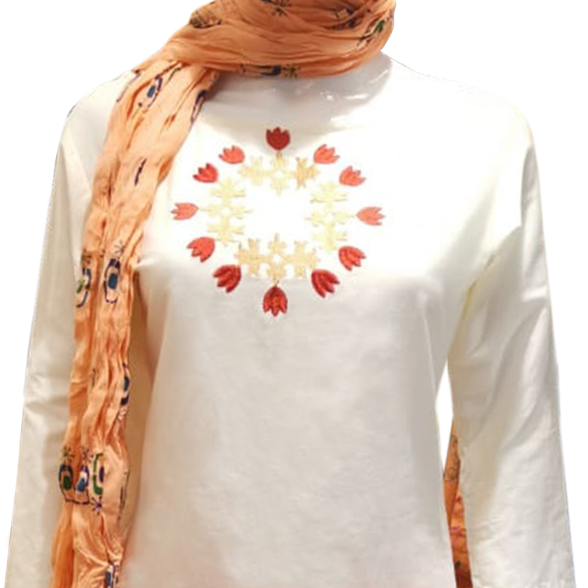 Alluring White Colored Partywear Embroidered Cotton Patiala Suit