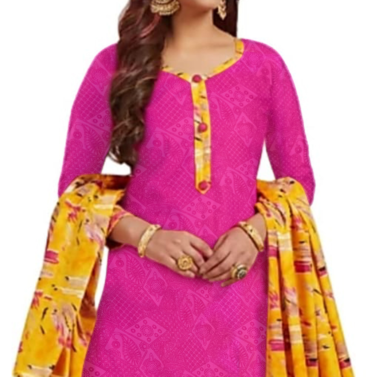 Charming Pink Colored Casual Printed Crepe Patiala Suit