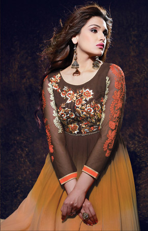 Brown & Peach Embroidery Georgette Tunic