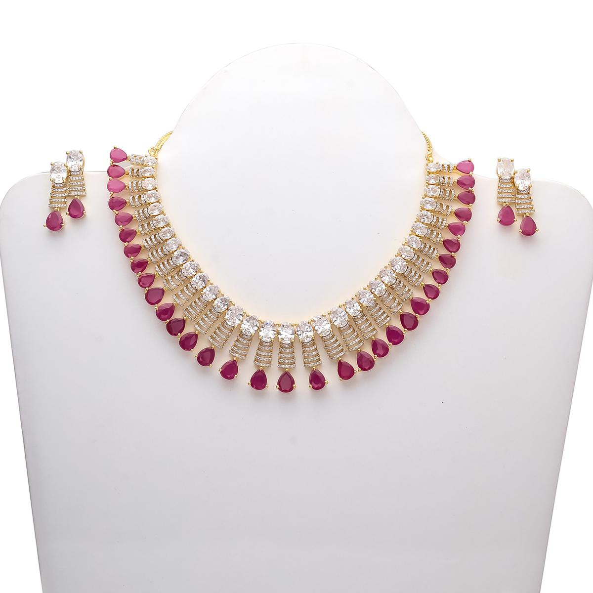 Buy Blissful Designer American Diamond And Red Stone Necklace Set For Womens Online India Best Prices Reviews Peachmode