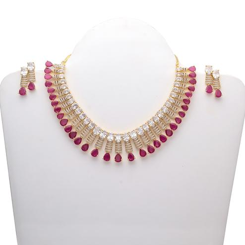 Blissful Designer American Diamond and Red Stone Necklace Set