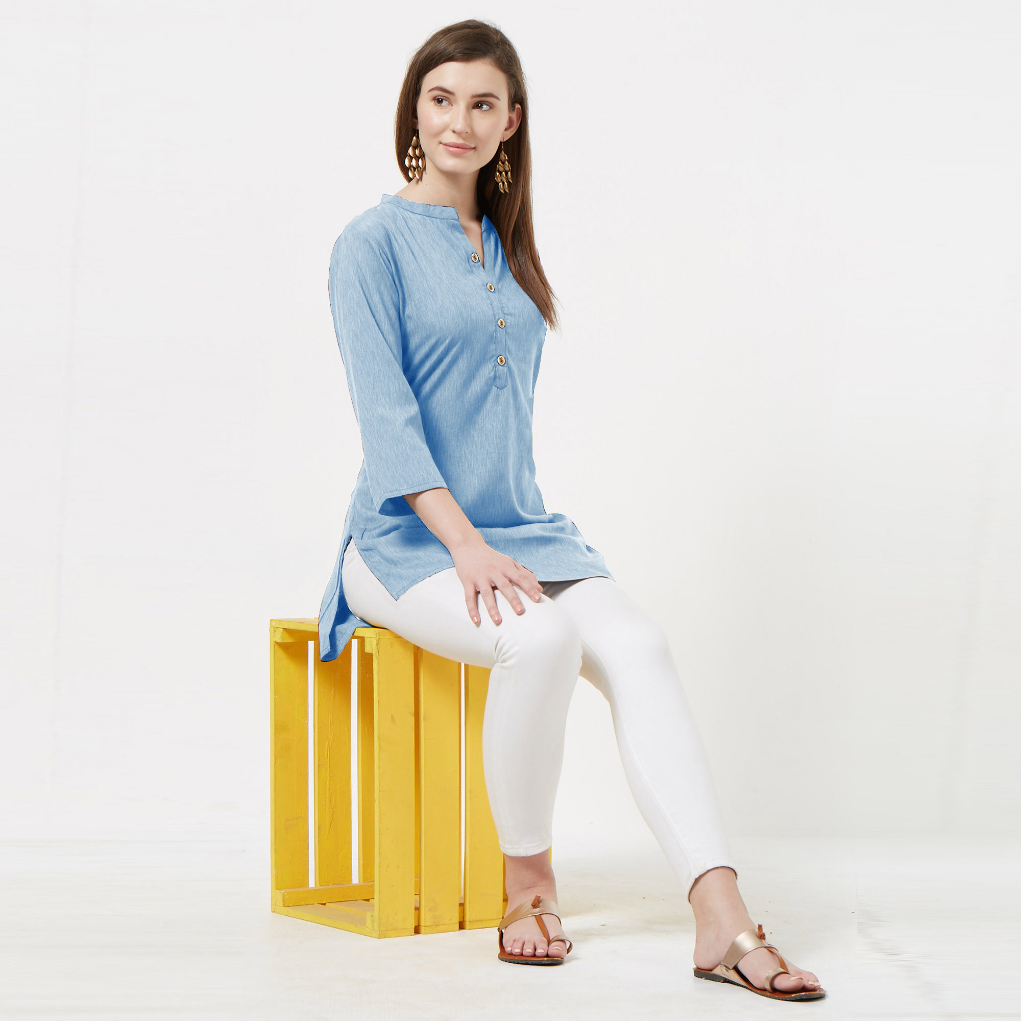 Jazzy Sky Blue Colored Casual Wear Cotton Top