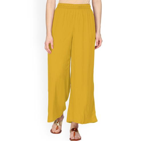 Mustard Yellow Colored Casual Wear Rayon Palazzo