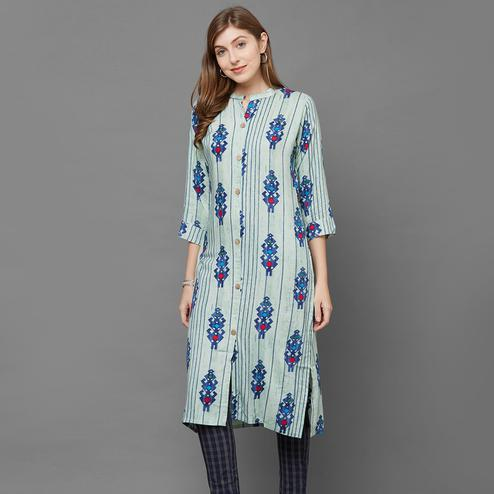 Eye-Catchy Light Aqua Green Colored Casual Printed Cotton Kurti