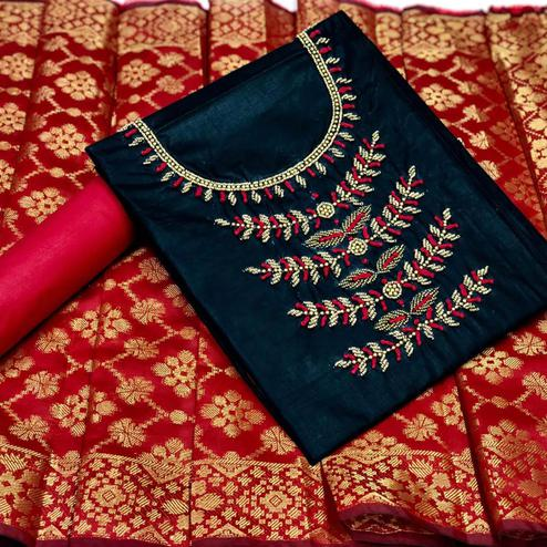 Pleasance Navy Blue Colored Partywear Embroidered Cotton Dress Material With Banarasi Silk Dupatta