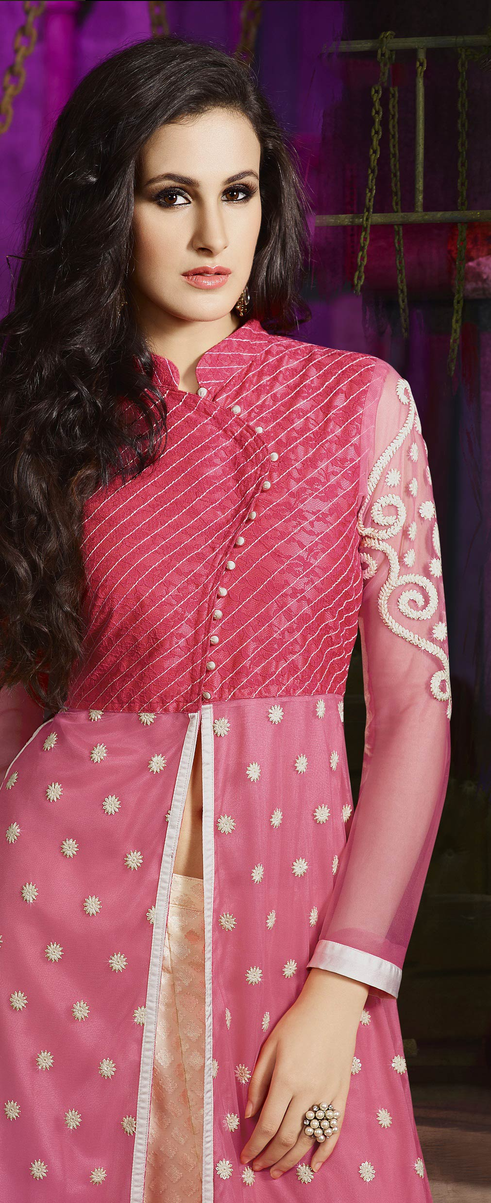 Pink - Cream Party Wear Palazzo Suit