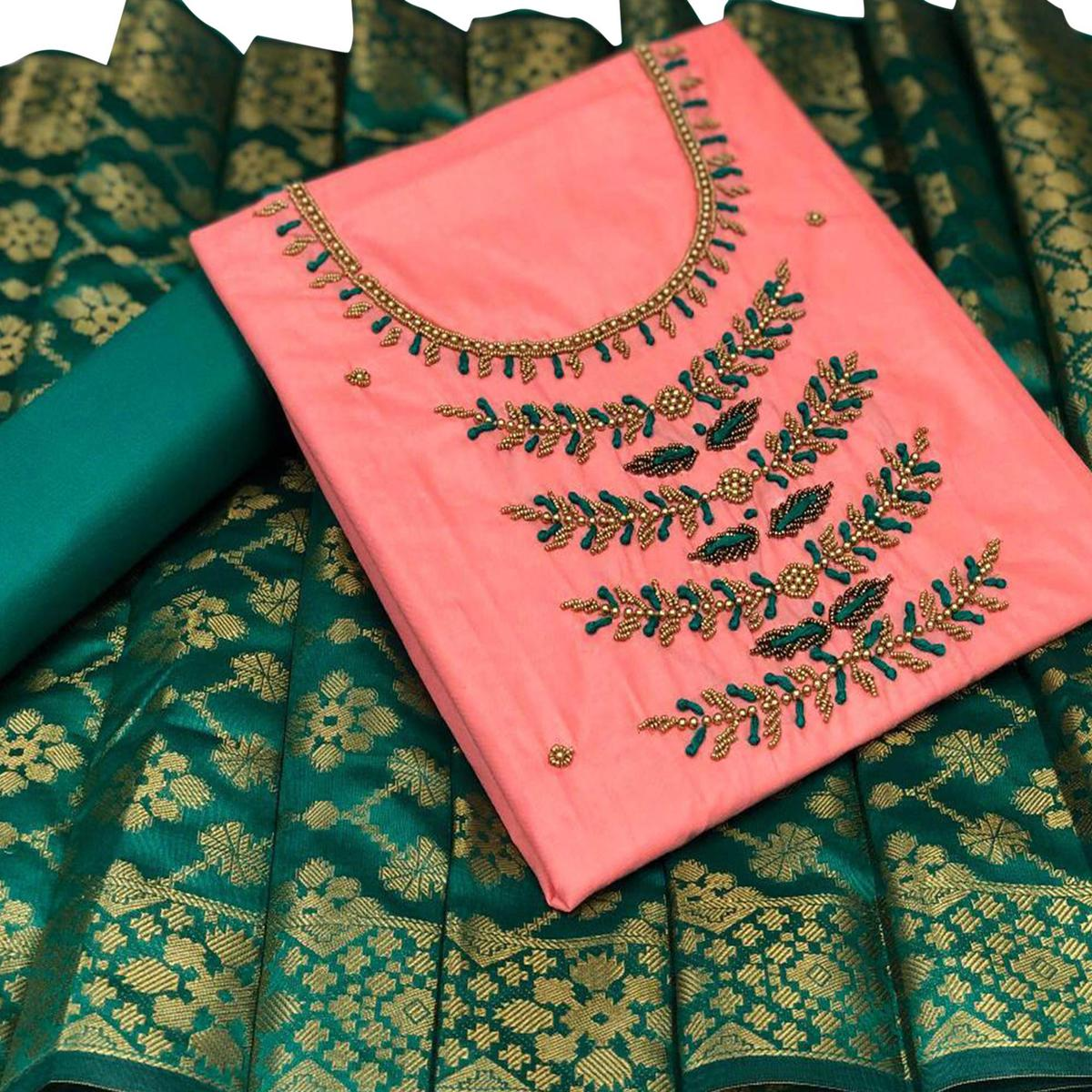 Breathtaking Peach Colored Partywear Embroidered Cotton Dress Material With Banarasi Silk Dupatta