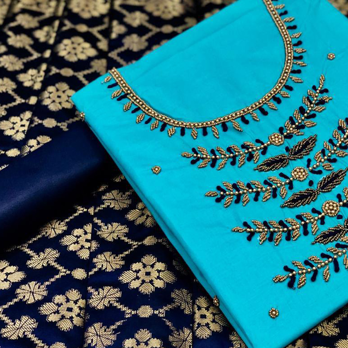 Ethnic Sky Blue Colored Partywear Embroidered Cotton Dress Material With Banarasi Silk Dupatta