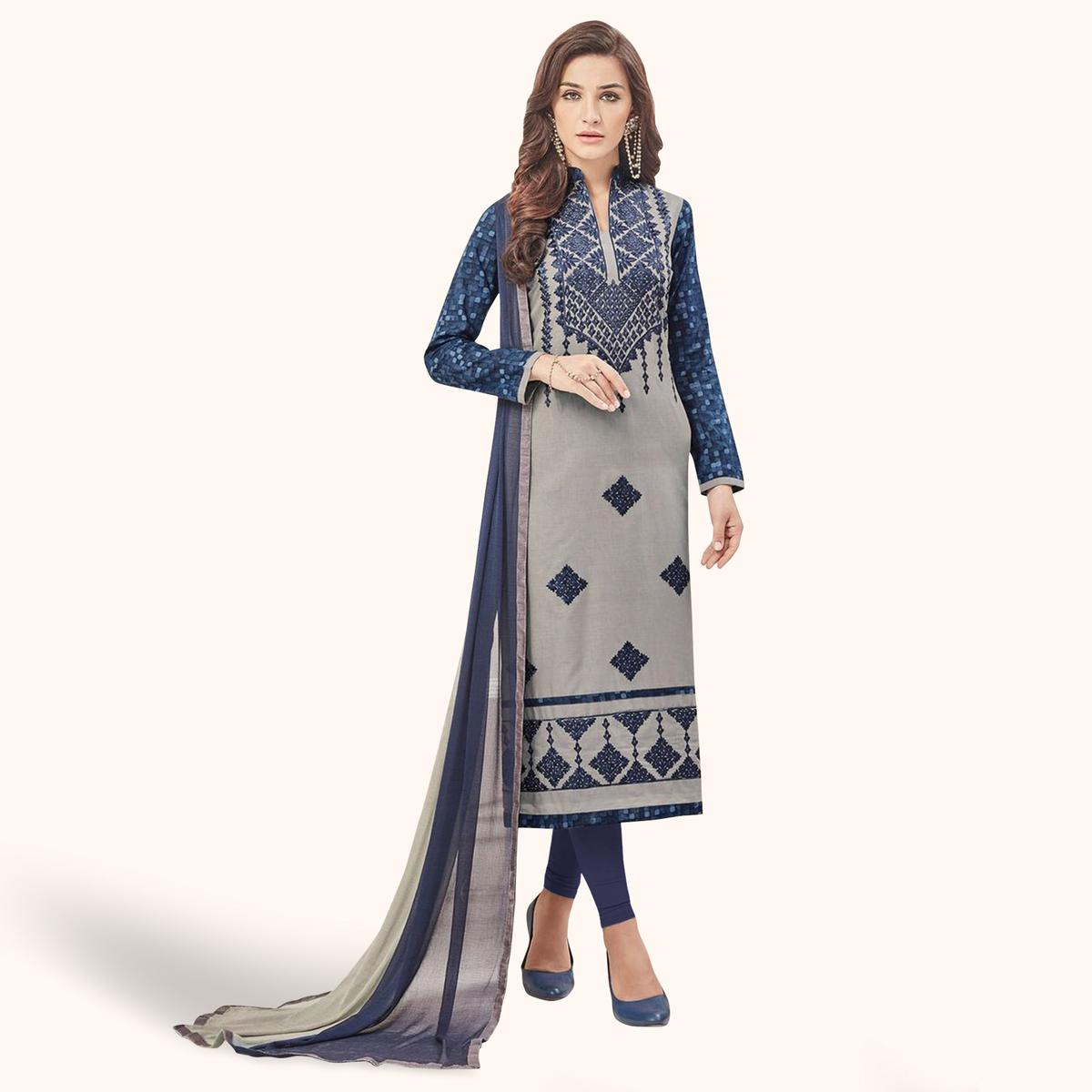 Elegant Gray Colored Casual Embroidered Cotton Dress Material