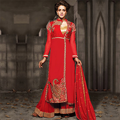 Red Embroidered Work Sharara Style Suit