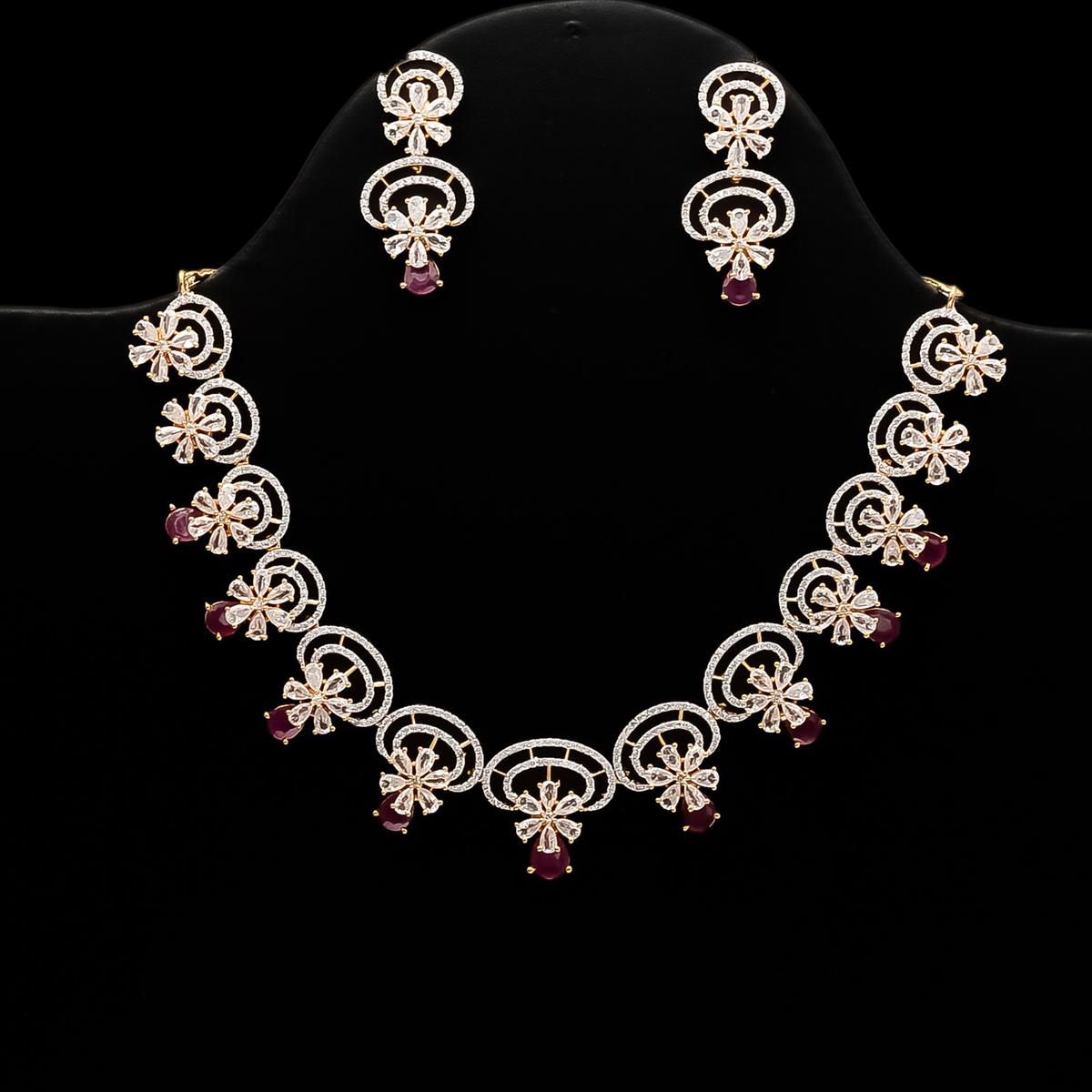 Buy Staring American Diamond And Red Stone Necklace Set For Womens Online India Best Prices Reviews Peachmode